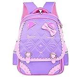 MLOPPTE Mochilas escolares de moda Sweet Cat Girl, patrón de dibujos animados a prueba de agua, mochila para niños, mochila escolar para niños, mochila para niñas, mochila púrpura