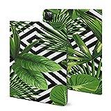 Étui pour iPad Pro 2021 avec porte-crayon Motif jungle exotique et feuilles de palmier tropicales...