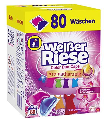 Weißer Riese Color Duo-Caps (80 Waschladungen), Aromatherapie Orchidee & Sandelholz, ergiebige Waschmittel Caps für Familien, Colorwaschmittel extra stark gegen Flecken