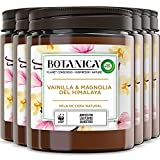 Botanica de Air Wick - Vela Aromática Perfumada Decorativa, Ambientador esencia para casa con aroma a Vainilla y Magnolia del Himalaya, con ingredientes naturales, Pack de 6