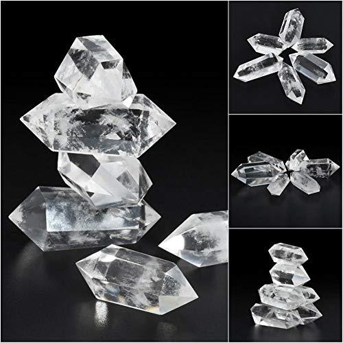 luckything 100 natuurlijke heilende kristalsteen witte fluoriet kristallen kwarts kristalsteen natuurlijke hexagonale kristallen kwarts genezende fluoriet toverstaf steenbehandeling steen 50-60 mm grote schaal wit x 1 stuks.