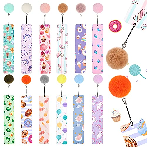 12 Pieces Bookmarks with Pom Pom, Page Markers, Cute Bookmarks for Students Reading for Girls, Women, Ladies, Children, Kids, Teens, Party Favors School Classroom Reading Presents