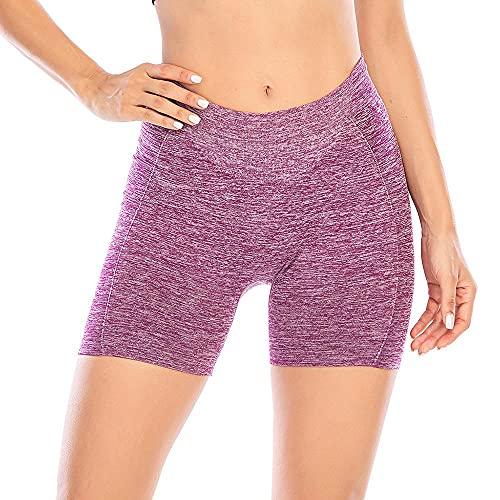 Lapa Pantalones cortos deportivos sin costuras para mujer, cintura alta, verano, botín para gimnasio, correr, ciclismo