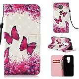 Janeqi Teléfono Caso - para Motorola Moto E5(5.70') Funda Cáscara,Funda de Piel Pintada 3D Anti-caída Case Cover - G1/Mariposa roja Rosa