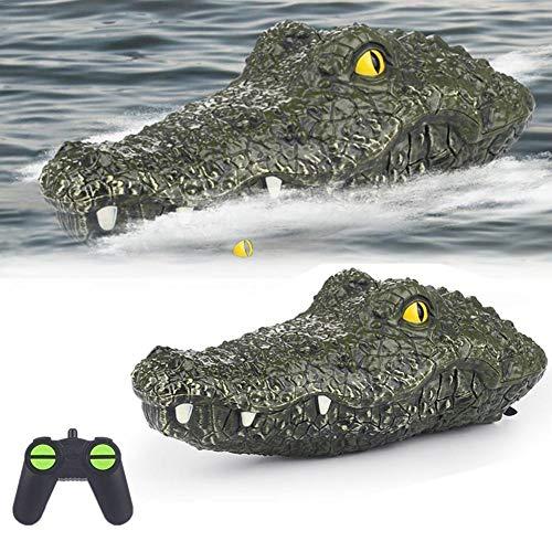 Fernbedienung Krokodilkopf Boot Spielzeug, elektrische 2.4G Fernbedienung Simulation lustige Wasserspielzeug Rennboot schwimmende gefälschte Krokodil Kopf Lockvogel für Pool Teich Garten Patio