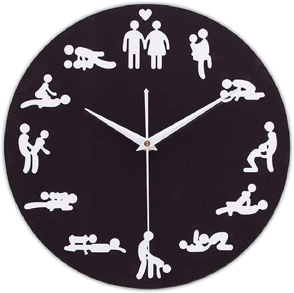 QIroseonly Sexual Fun Sex Posture Wall Clock Free Combination Of Living Room Art Wall Clock Black Sexual Posture2