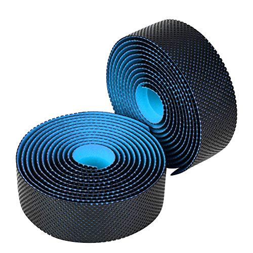自転車バーテープ ハンドルバーテープ グリップテープ PU素材 ロードバイク用 防水 滑り止め 左右2個セット 耐摩耗 取り付けやすい(ブルー)
