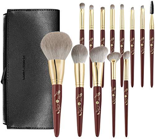Rownyeon Makeup Brush Set 13pcs Premium Cosmetic Makeup Brushes for Foundation Blending Blush Concealer Eye Shadow Synthetic Fiber Bristles, Travel Makeup bag Included (Red)