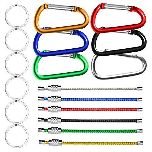 6 stuks draad sleutelhangers & 6 stuks aluminium karabijnhaken in D-vorm met zilveren platte metalen sleutels, SENHAI klikclips met kliksluiting voor outdoor, camping, reizen, vissen