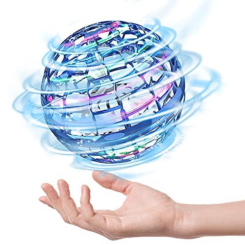 FLYNOVA PRO Flugball Mini Drohne, Flying Orb Kinder Spielzeug LED Leuchten Fliegendes Spielzeug Geschenke für Jungen Mädchen Indoor Outdoor Flugzeuge für Kinder Anfänge, 2021 Verbesserte (Blau)