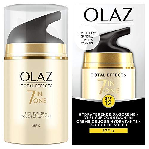 Olaz Total Effects 7in1 Feuchtigkeitsspendende Tagescreme + Touch von Sonnenschein, Selbstbräuner SPF12, 100 g
