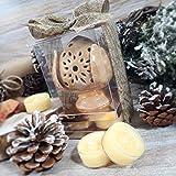 Portacandele pumo traforato confezione regalo con tealight Candle (Portacandele pumo tortora + 4 tealight)