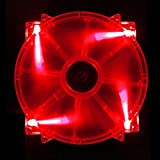 APEVIA CF20SL-URD 200mm SILENT Red LED Case Fan with 3Pin Motherboard & 4Pin Molex Connectors