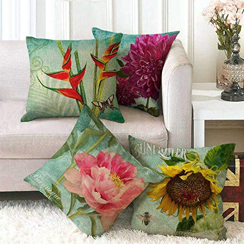KUNQIAN Cushion Covers 4 Pieces Linen Throw Pillow Covers Case Square For Sofa Home Decorative Livingroom Bed Office Car Waist (Without Core) 18x18inch Flower Sunflower Rose Green Blue Fall