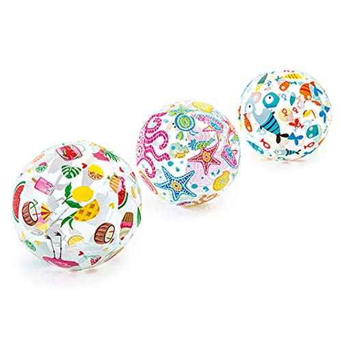 soloplay Pelota de waterpolo inflable, linda impresión, globo de agua transparente, juego de agua de verano, patrón aleatorio, para verano al aire libre y natación (51 x 51 cm)