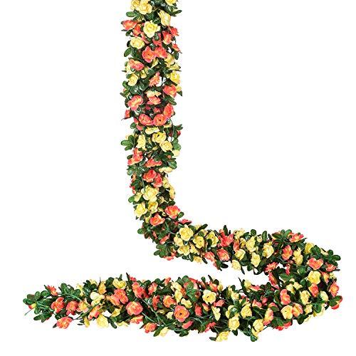 YQing 4 Stücke Künstliche Rosen Girlande, 250cm Unechte Rosenranke Blumengirlande mit grünen Blättern für Hochzeit, Party, Garten Dekoration, Champán