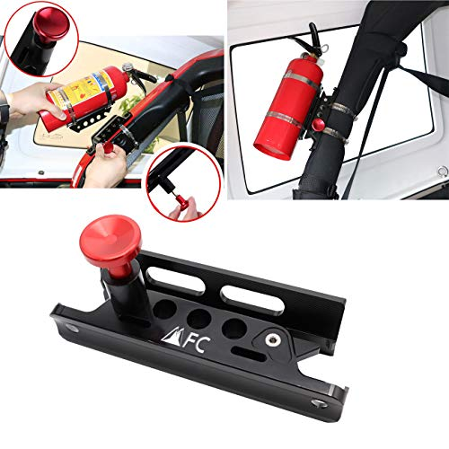 (1-Year Warranty) Universal Aluminum Adjustable Roll Bar Fire Extinguisher Mount Bottle Holder For Jeep Wrangler TJ JK JKU JL UTV Polaris RZR Ranger tractors