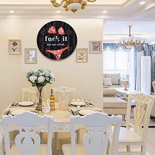 30 cm Wanduhr Rahmenlose Wanduhr mit Geräuschlosem Einzigartiges Design Fick es Sexy Girl's Red Bikini Sei einfach nackt Lustige Grafik auf schwa Moderner Stil Dekoration Wohnzimmer Schlafzimmer Küche