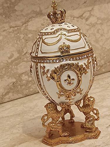 Joyero de lujo con diseño de león dorado de la suerte, hecho a mano, estilo Fabergé, 200 diamantes de Swarovski, caja de joyería de lujo, regalo de oro de 24 quilates, gran regalo para alguien