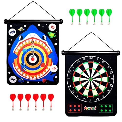 Dart Board,Aywewii Roll up Double Sided Darts Kid...