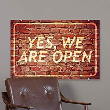 27x18 CGSignLab Ghost Aged Brick Premium Acrylic Sign Yes We are Open