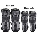 KKmoon 4pcs Rodilleras Moto Espinilleras Protección de Rodilla Codo Transpirable Impermeable Elástico Cálido y Antiarañazos