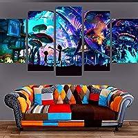 YJXL Carteles De Rick Y Morty-Cuadro En Lienzo,Canvas De 5 Pieza,Póster De Arte Moderno Oficina Dormitorio Decoración del Hogar Arte De Pared 150x80cm Enmarcad