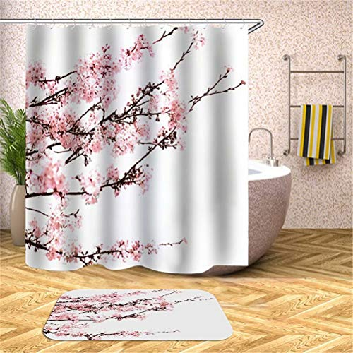 SLN Blühende Pflaume. Duschvorhang: 180X180 cm. Matten: 40X60 cm. Wasserdicht. Schnell Trocknend. Mit Haken. Badezimmer-Kombinationsvorhangset