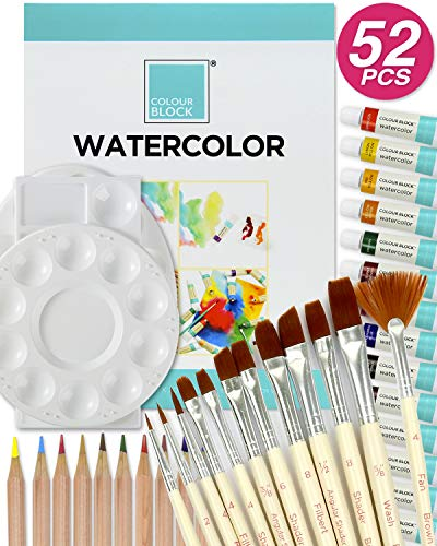 COLOUR BLOCK 52 Piece Watercolor Bundle Set, Art Supplies for School Supply Box-Includes   12 Watercolor Paint Tubes   12 Piece Brush Set   25 Sheet Drawing Pad   24 Piece Watercolor Pencil Set