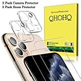 [4 Pack] QHOHQ 2 Pack Tempered Glass Screen Protector +2 Pack Tempered Glass Camera Lens Protector for Apple iPhone 11 Pro Max(6.5'),[9H Hardness] HD Transparent Scratch-Resistant [Bubble Free]