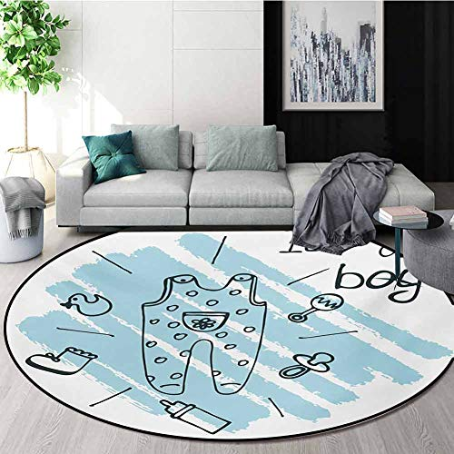 Great Price! RUGSMAT Gender Reveal Modern Flannel Microfiber Round Area Rug,Its Boy Quote Clothes Pa...