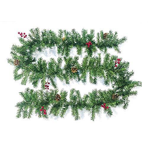 aheadad - Guirnalda de Navidad artificial, decoración navideña, color verde de ratán, puertas y ventanas, manzana, pino, decoración artificial, corona, chimenea, árbol de Navidad, decoración