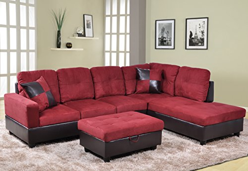 Beverly Fine Furniture Andes Microfiber with Faux Leather Sofa Set With Ottoman, Red Raspberry