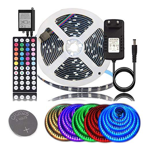BIHRTC 5m RGB LED Strip Wasserdicht IP65 Kit Streifen Licht Lichtband Lichtstreifen Band Leiste Schwarz PCB mit 44 Tasten Fernbedienung EU Plug DC 12V Netzteil