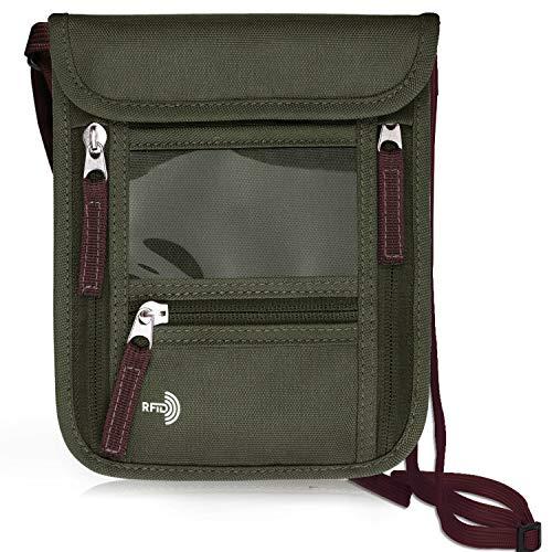 WALNEW RFIDパスポートカバー 首下げ パスワードケース スキミング防止 ホルダー 七つポケット ストラップ付き (Army Green)