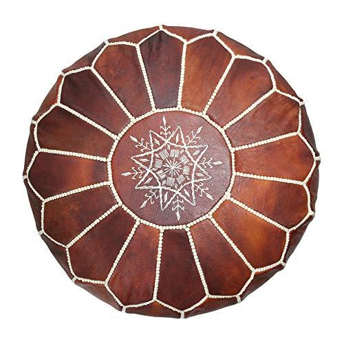 Marrakesh Style Wunderschöner, origineller, dunkelbrauner Sitzhocker, marokkanischer Lederpouf, Naturlederpoufs, Heimgeschenke, Hochzeitsgeschenke, ungefüllt (dunkelbraun)