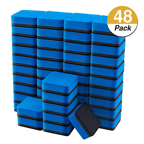Favourde 48 Pack Magnetic Whiteboard Dry Eraser Chalkboard Cleansers for Classroom, Home and Office (Blue)