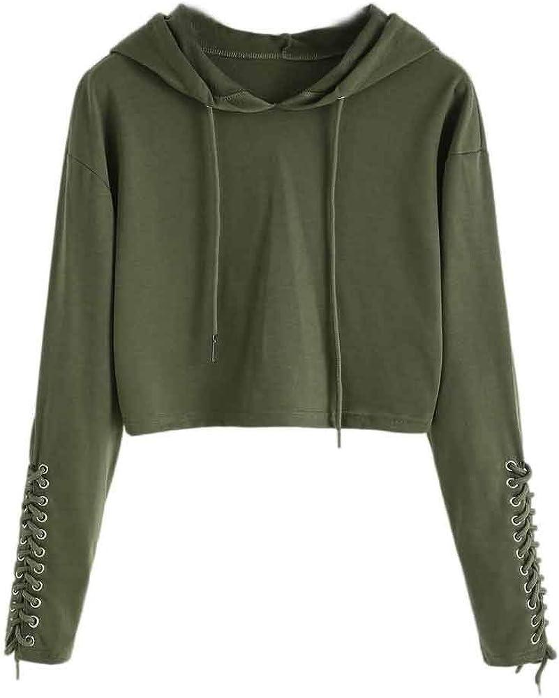 Girls' Hoodie, Misaky Casual Bandages Navel Long Sleeve Short Drawstring Hooded Pullover Sweatshirt Blouse Tops
