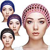 Geyoga 4 Pieces Mesh Crochet Hair Net Rayon Knit Snood Hat Thick Short Women Hairnet Snoods Cover Ornament for Sleeping (Pink, Black, Blue, Purple)
