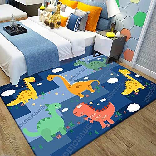 HB.YE Alfombra para niños, manta para gatear, mate, habitación de bebé, dibujos animados, animales, alfombra de juego, para habitación de niños, lavable a máquina, decoración 80 x 160 cm Dinosaurios