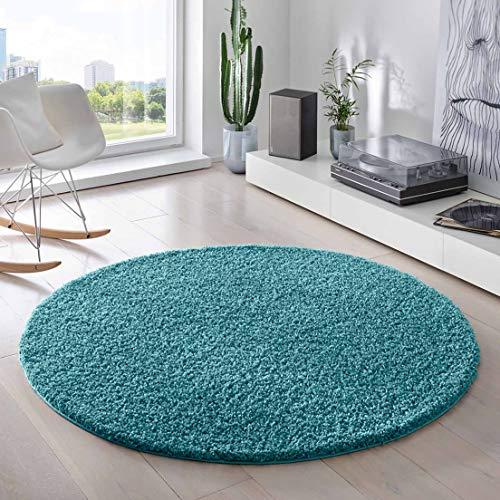 Teporio Shaggy-Teppich   Flauschiger Hochflor fürs Wohnzimmer, Schlafzimmer oder Kinderzimmer   einfarbig, schadstoffgeprüft, allergikergeeignet (Türkis - 120 cm rund)