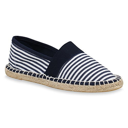 stiefelparadies Damen Schuhe Espadrilles Bast Slipper Metallic Beach Schuhe 156944 DunkelblauWeiss 36 Flandell