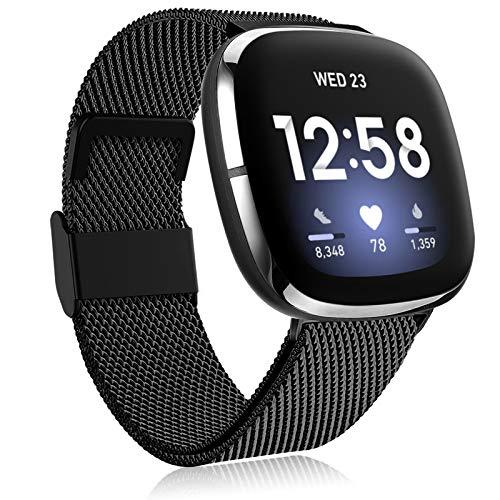 Funbiz Metall Armband Kompatibel mit Versa 3/Sense Smartwatch, Edelstahl Metall Ersatzarmband mit Einstellbarer Größe für Frauen Männer, Groß Schwarz