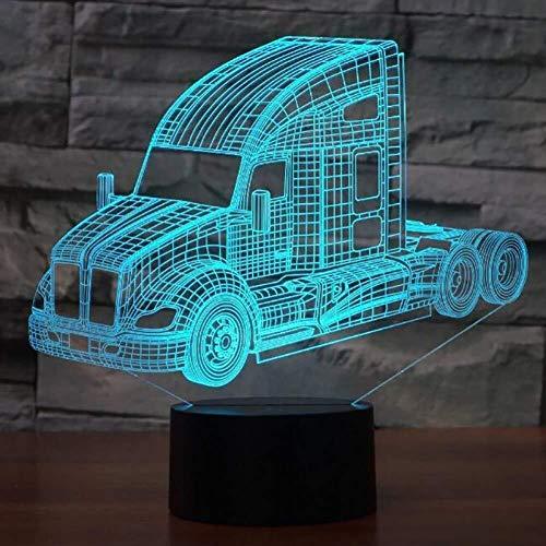 QB Nachtlicht, 3D-Illusion Karikatur, LED-Touch-Illusion Licht, LKW Bus Mixer Container-LKW Feuerwehrauto 3D-LED-Nachtlichter for Kinder Touch-USB-Nachtlicht