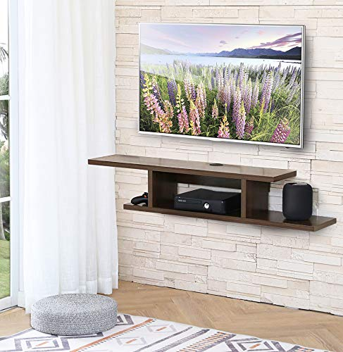 FITUEYES Floating TV Stands Wall Mounted Wood Media Console Entertainment Center Shelves Brown