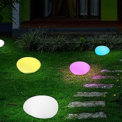 Obell 12-inches LED Solar Floating Ball Lights 10 RGB Color Changing Mood Light Outdoor Waterproof Float Globe Lights Garden Solar Lamp Post Lights Pool Party