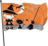 N/Y Cute Halloween Witch Girl Cat Broomstick Themed Welcome Party Outdoor Outside Decorations Ornament Picks Home House Garden Yard Decor 3 X 5 Ft Small Flag