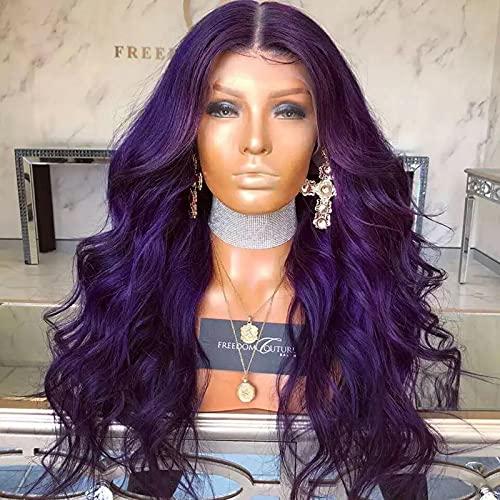 XLBHSH Brasileño Mujeres Delanteras del Cordón Larga Rizado Pelo Peluca Sin Pegamento Natural Ondulado Resistentes Calor Fibra de Alta Temperatura Ajustable,Púrpura