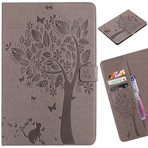 LEMORRY Handyhülle für Samsung Galaxy Tab A 9.7 / T550 T555 Hülle Tasche Ledertasche Beutel Magnetisch SchutzHülle Weich Silikon Cover Schale Handyhülle für Galaxy Tab A 9.7, Glücklicher Baum (Grau)