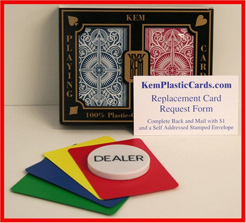 KEM RB Arrow Bridge Size Jumbo Index 100% Plastic Playing Cards with Free Dealer Button, 4 Free Cut Cards and Replacement Request Form